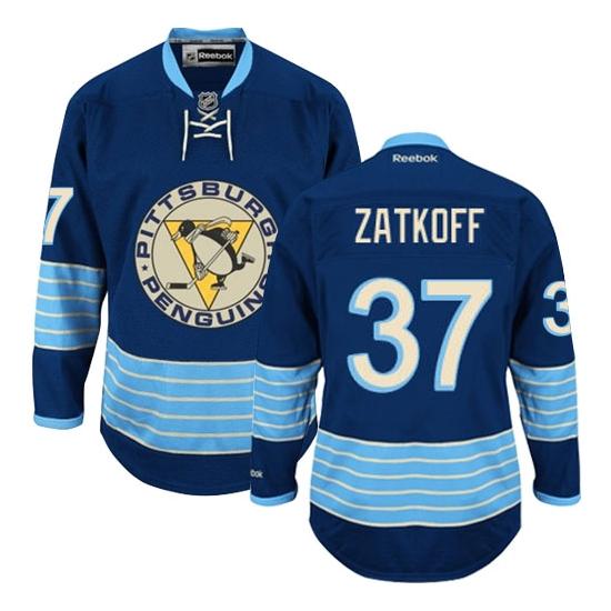 Jeff Zatkoff Pittsburgh Penguins Premier Third Vintage Reebok Jersey - Navy Blue