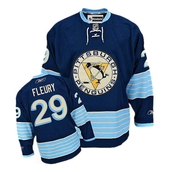 Marc-Andre Fleury Pittsburgh Penguins Premier New Third Winter Classic Vintage Reebok Jersey - Navy Blue