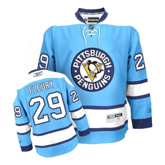 c92fc6d0cfd Marc-Andre Fleury Pittsburgh Penguins Authentic Third Reebok Jersey - Light  Blue