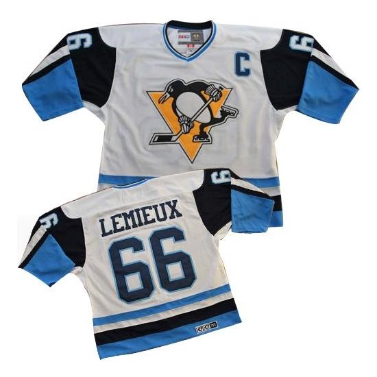 Mario Lemieux Pittsburgh Penguins White/ Premier Throwback CCM Jersey - Blue