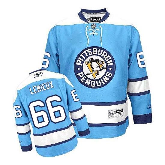 Mario Lemieux Pittsburgh Penguins Authentic Third Reebok Jersey - Light Blue