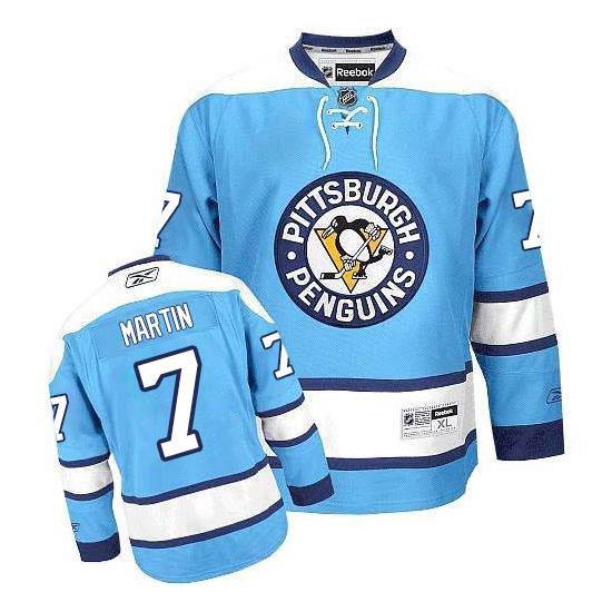 Paul Martin Pittsburgh Penguins Premier Third Reebok Jersey - Light Blue