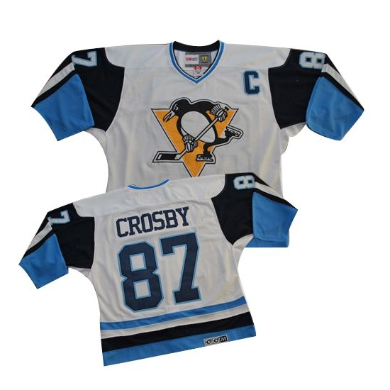Sidney Crosby Pittsburgh Penguins White/ Authentic Throwback CCM Jersey - Blue