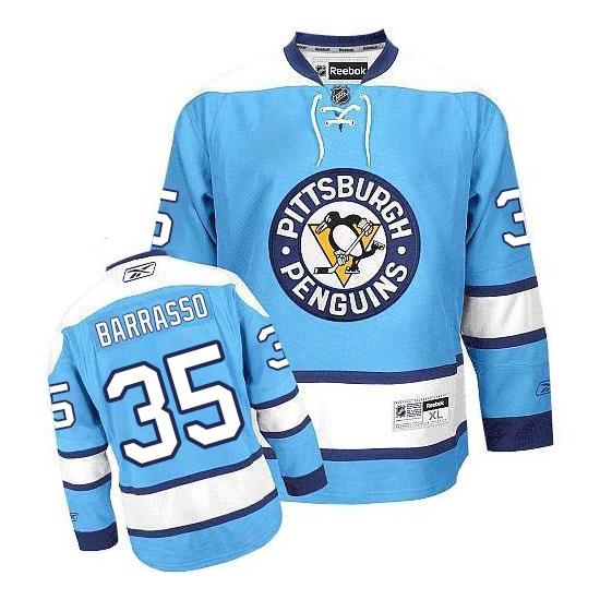 Tom Barrasso Pittsburgh Penguins Authentic Third Reebok Jersey - Light Blue