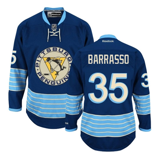 Tom Barrasso Pittsburgh Penguins Authentic New Third Winter Classic Vintage Reebok Jersey - Navy Blue