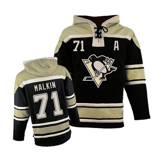 Evgeni Malkin Pittsburgh Penguins Old Time Hockey Authentic Sawyer Hooded Sweatshirt Jersey - Black
