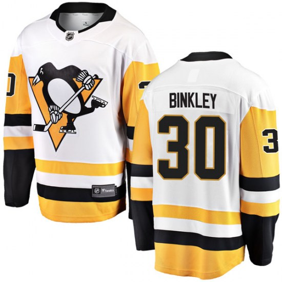 Les Binkley Pittsburgh Penguins Youth Breakaway Away Fanatics Branded Jersey - White
