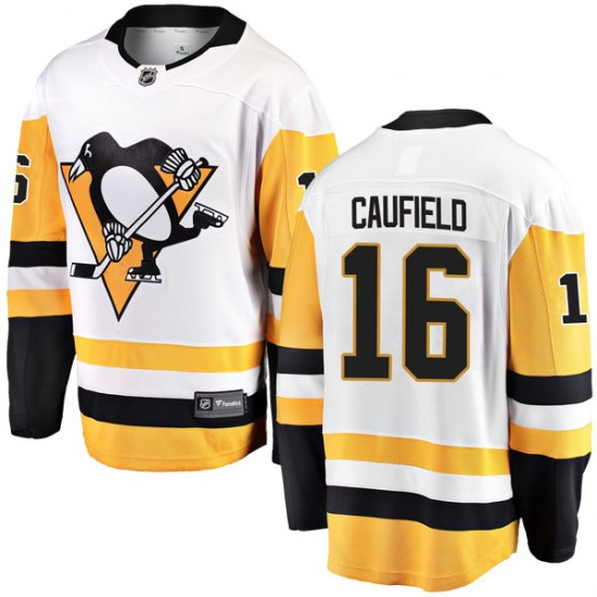 Jay Caufield Pittsburgh Penguins Youth Breakaway Away Fanatics Branded Jersey - White