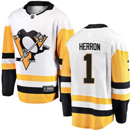 Denis Herron Pittsburgh Penguins Youth Breakaway Away Fanatics Branded Jersey - White
