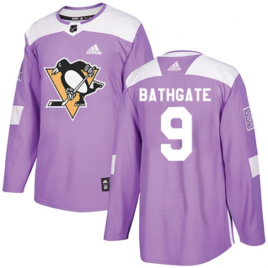Andy Bathgate Pittsburgh Penguins Authentic Fights Cancer Practice Adidas Jersey - Purple