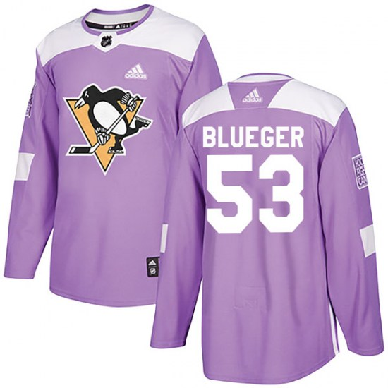 Teddy Blueger Pittsburgh Penguins Authentic Purple Fights Cancer Practice Adidas Jersey - Blue