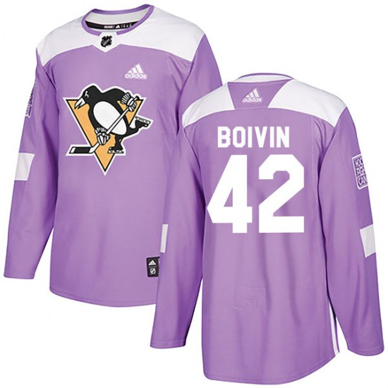 Leo Boivin Pittsburgh Penguins Authentic Fights Cancer Practice Adidas Jersey - Purple