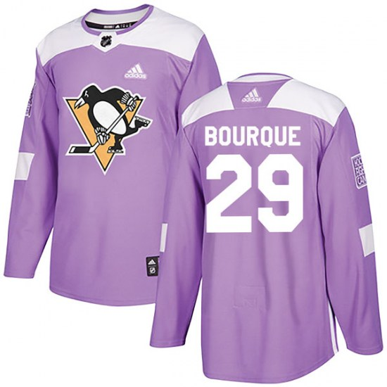 Phil Bourque Pittsburgh Penguins Authentic Fights Cancer Practice Adidas Jersey - Purple