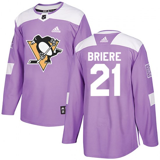 Michel Briere Pittsburgh Penguins Authentic Fights Cancer Practice Adidas Jersey - Purple