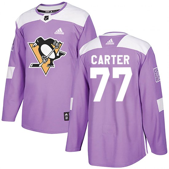 Jeff Carter Pittsburgh Penguins Authentic Fights Cancer Practice Adidas Jersey - Purple
