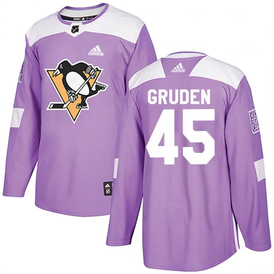 Jonathan Gruden Pittsburgh Penguins Authentic Fights Cancer Practice Adidas Jersey - Purple