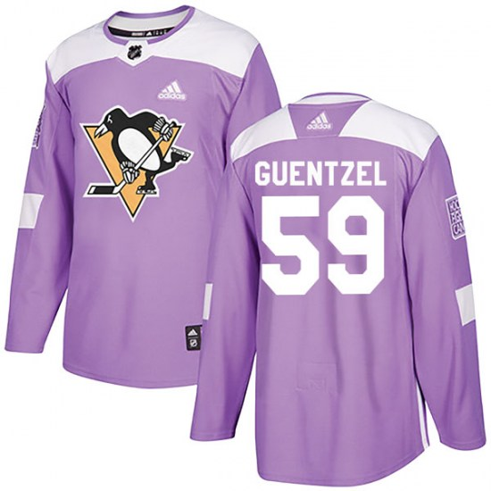 Jake Guentzel Pittsburgh Penguins Authentic Fights Cancer Practice Adidas Jersey - Purple