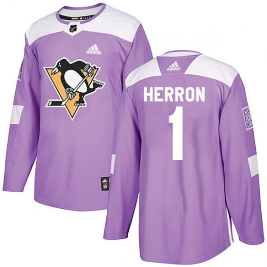 Denis Herron Pittsburgh Penguins Authentic Fights Cancer Practice Adidas Jersey - Purple