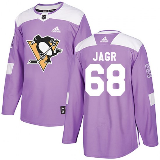 Jaromir Jagr Pittsburgh Penguins Authentic Fights Cancer Practice Adidas Jersey - Purple
