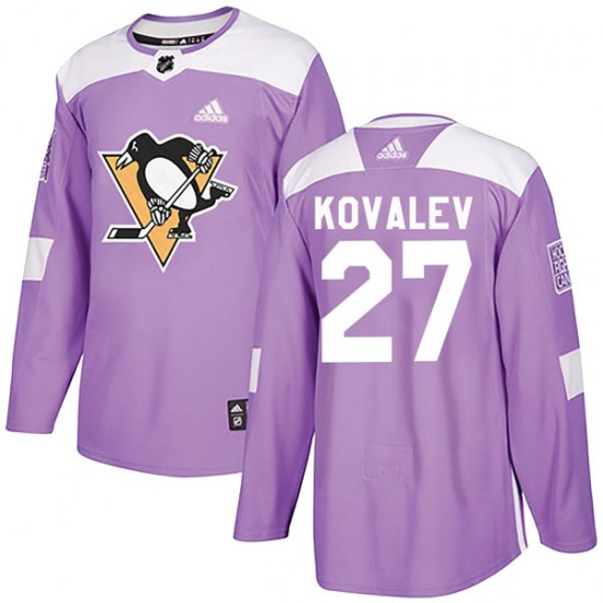 Alex Kovalev Pittsburgh Penguins Authentic Fights Cancer Practice Adidas Jersey - Purple