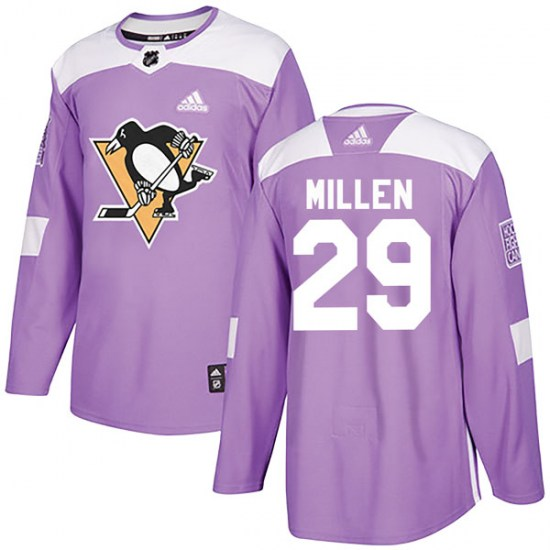 Greg Millen Pittsburgh Penguins Authentic Fights Cancer Practice Adidas Jersey - Purple