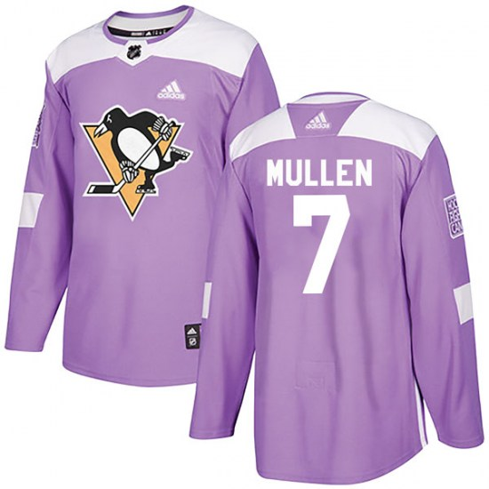 Joe Mullen Pittsburgh Penguins Authentic Fights Cancer Practice Adidas Jersey - Purple