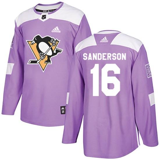 Derek Sanderson Pittsburgh Penguins Authentic Fights Cancer Practice Adidas Jersey - Purple