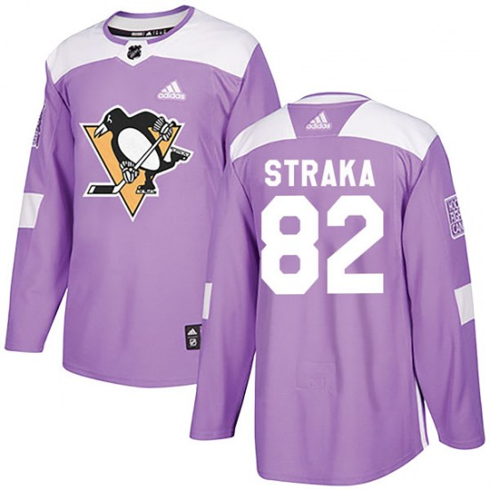Martin Straka Pittsburgh Penguins Authentic Fights Cancer Practice Adidas Jersey - Purple