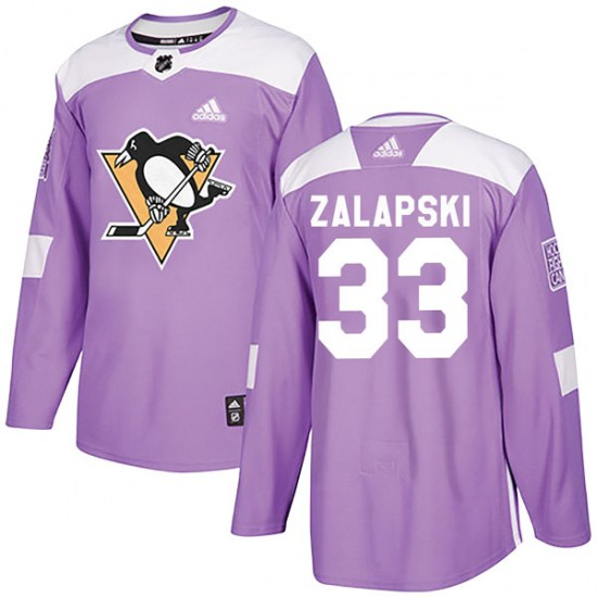 Zarley Zalapski Pittsburgh Penguins Authentic Fights Cancer Practice Adidas Jersey - Purple