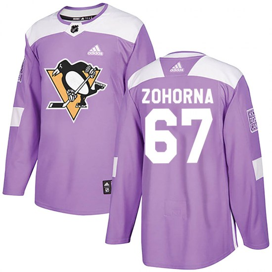 Radim Zohorna Pittsburgh Penguins Authentic Fights Cancer Practice Adidas Jersey - Purple