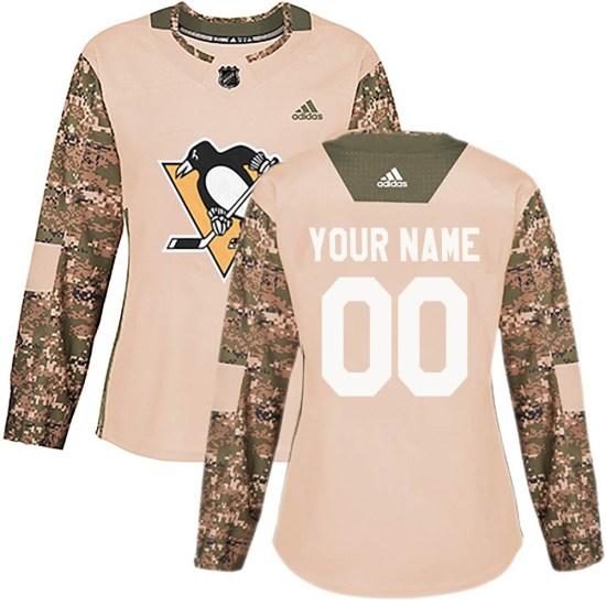 Custom Pittsburgh Penguins Women's Authentic Veterans Day Practice Adidas Jersey - Camo