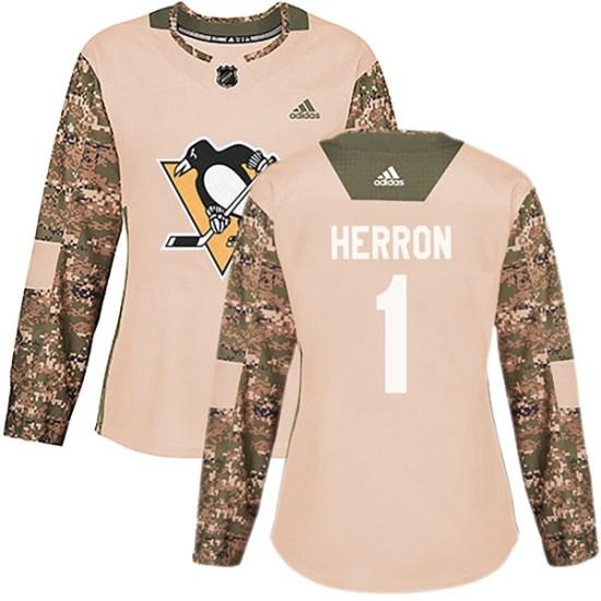 Denis Herron Pittsburgh Penguins Women's Authentic Veterans Day Practice Adidas Jersey - Camo