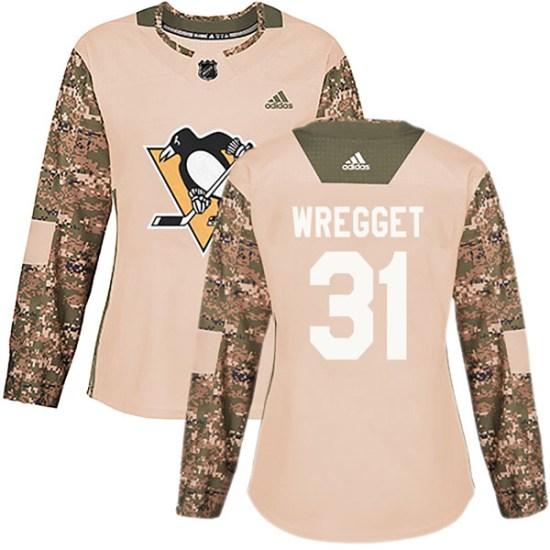 Ken Wregget Pittsburgh Penguins Women's Authentic Veterans Day Practice Adidas Jersey - Camo