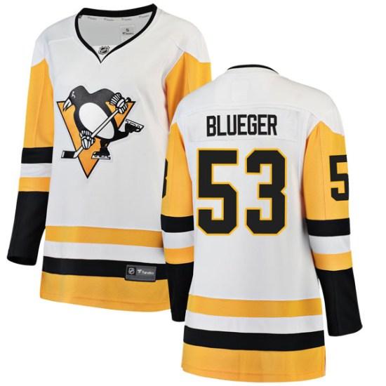 Teddy Blueger Pittsburgh Penguins Women's Breakaway White Away Fanatics Branded Jersey - Blue