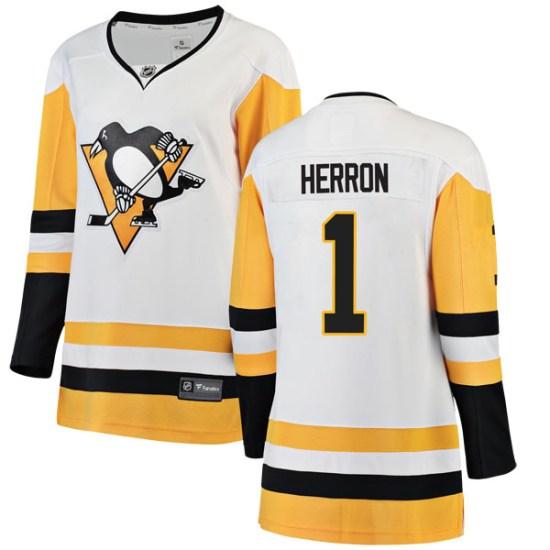 Denis Herron Pittsburgh Penguins Women's Breakaway Away Fanatics Branded Jersey - White