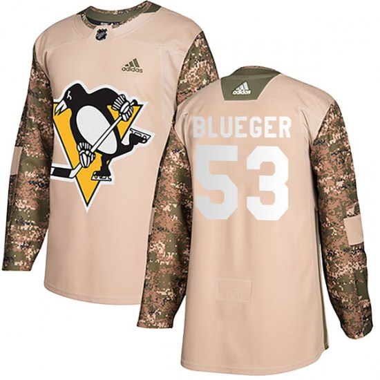 Teddy Blueger Pittsburgh Penguins Youth Authentic Camo Veterans Day Practice Adidas Jersey - Blue