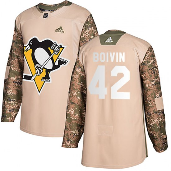 Leo Boivin Pittsburgh Penguins Youth Authentic Veterans Day Practice Adidas Jersey - Camo