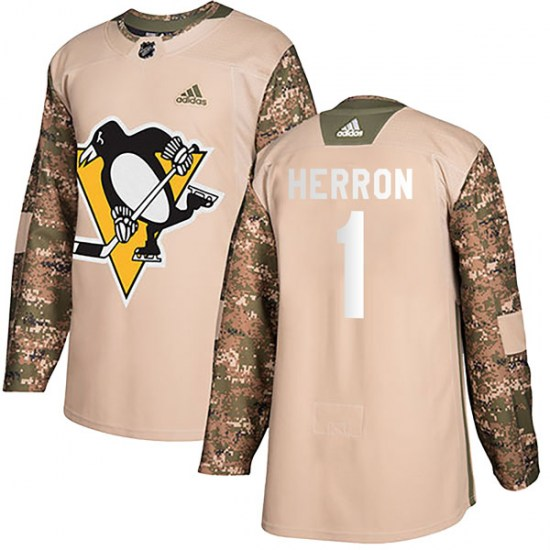 Denis Herron Pittsburgh Penguins Youth Authentic Veterans Day Practice Adidas Jersey - Camo