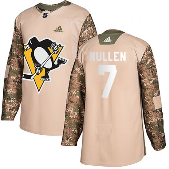 Joe Mullen Pittsburgh Penguins Youth Authentic Veterans Day Practice Adidas Jersey - Camo