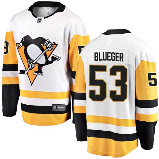 Teddy Blueger Pittsburgh Penguins Breakaway White Away Fanatics Branded Jersey - Blue