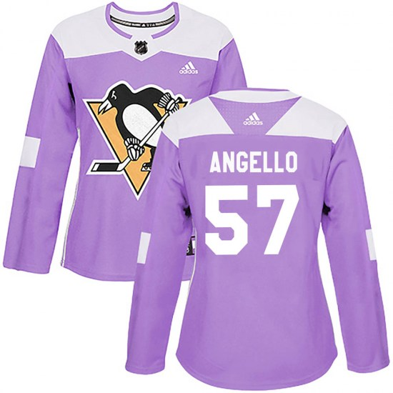 Anthony Angello Pittsburgh Penguins Women's Authentic Fights Cancer Practice Adidas Jersey - Purple