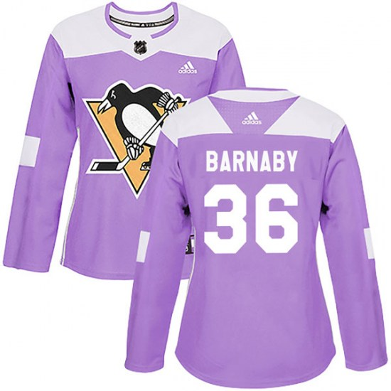 Matthew Barnaby Pittsburgh Penguins Women's Authentic Fights Cancer Practice Adidas Jersey - Purple