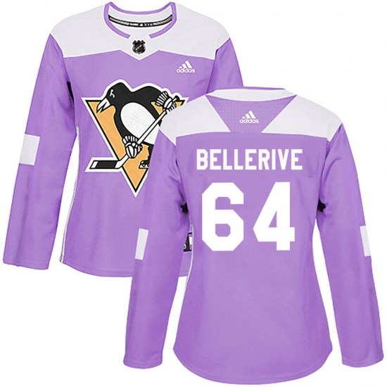 Jordy Bellerive Pittsburgh Penguins Women's Authentic Fights Cancer Practice Adidas Jersey - Purple
