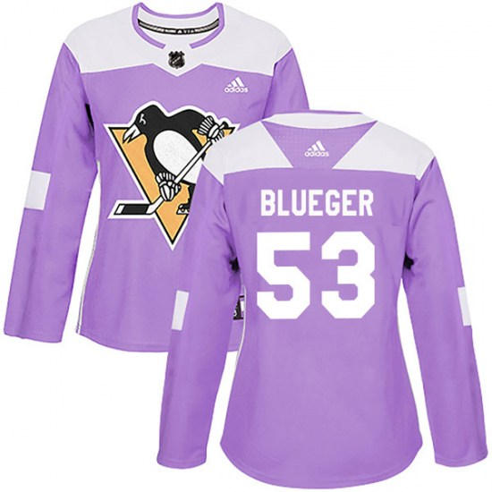 Teddy Blueger Pittsburgh Penguins Women's Authentic Purple Fights Cancer Practice Adidas Jersey - Blue