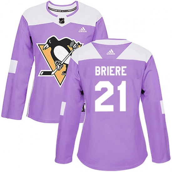 Michel Briere Pittsburgh Penguins Women's Authentic Fights Cancer Practice Adidas Jersey - Purple