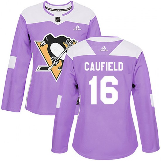Jay Caufield Pittsburgh Penguins Women's Authentic Fights Cancer Practice Adidas Jersey - Purple