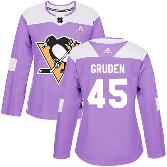 Jonathan Gruden Pittsburgh Penguins Women's Authentic Fights Cancer Practice Adidas Jersey - Purple