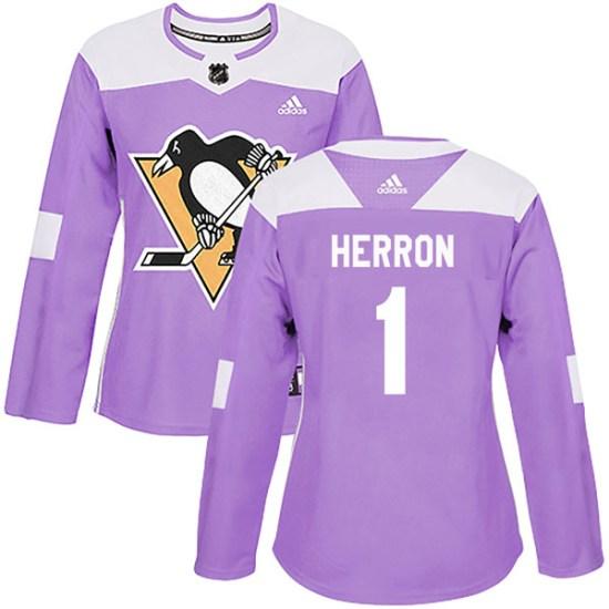 Denis Herron Pittsburgh Penguins Women's Authentic Fights Cancer Practice Adidas Jersey - Purple