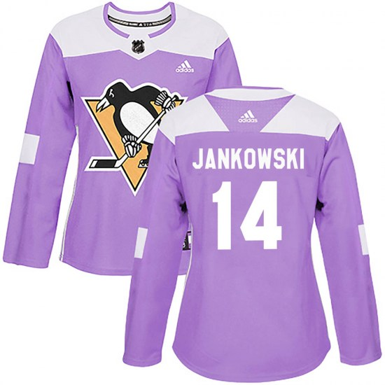 Mark Jankowski Pittsburgh Penguins Women's Authentic Fights Cancer Practice Adidas Jersey - Purple