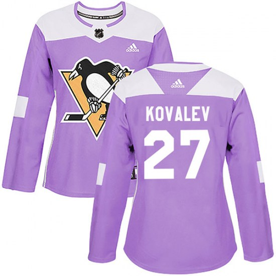 Alex Kovalev Pittsburgh Penguins Women's Authentic Fights Cancer Practice Adidas Jersey - Purple
